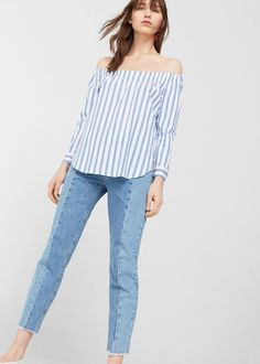 Blusa off-shoulder popelín - Camisas de Mujer | MNG Colombia