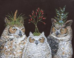 'Owl Family' by Vicki Sawyer - owls version of partying with lamp shades on their heads?  Too cute.