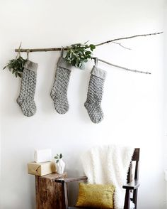 Don't have a fireplace to hang stockings? Try this cute minimalist approach.