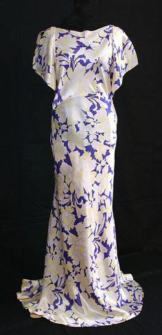 Bias cut satin evening dress, c.1935, from the Vintage Textile archives.