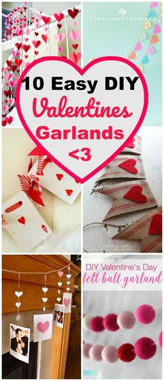 10 Inexpensive and easy DIY Valentines garland and banner ideas. Garlands & banners make a fast wall art project and decor idea for Valentines Day!