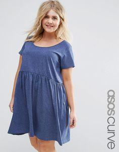 Image 1 ofASOS CURVE Smock Dress With Short Sleeve