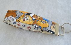 Key Fob wristlet  Singing Cats by doodlebugquilts on Etsy (Accessories, Keychain, Fabric, fabric, wristlet, key fob, handmade, cat, singing cat, alley cat, tan, brown)