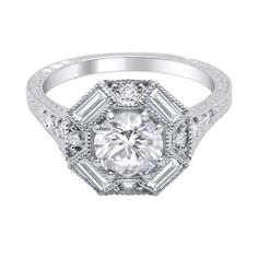 Image result for halo baguette diamond ring