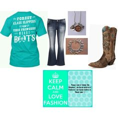 cowgirl western tee dhirt, jeans, cowgirl boots, and western charm bracelet and necklace by im-karla-with-a-k on Polyvore featuring polyvore fashion style maurices