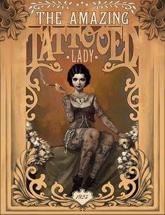 """The Amazing Tatooed Lady"" - A Giclée Print by Rudy-Jan Faber available for purchase. $20 #illustration #print #poster"