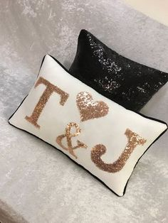 Mr & Mrs Pillow - wedding Pillow - personalized bedroom pillow - Custom letter pillow - birthday party decor - ring bearer pillow - Beds and bathroom items - Cool Decorative Pillows Valentines Day Decorations, Birthday Party Decorations, Bow Pillows, Pillow Beds, Wedding Pillows, Decorative Pillows, Etsy, Letter Pillow, 2 Letter