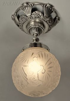 PETITOT & MULLER : French 1930 art deco ceiling fixture in nickeled bronze and moulded-pressed glass.