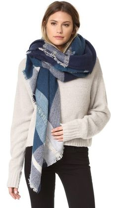 Navy Spun Scarves by Subtle Luxury Plaid & Dipity Scarf