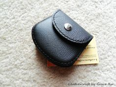 hand made hand stitched leather coin purse