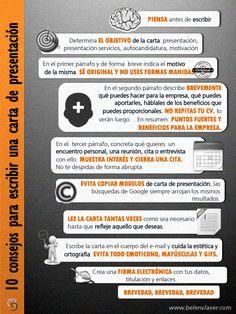 10 consejos para una carta de presentación #infografia #infographic #empleo vía: www.belenclaver.com