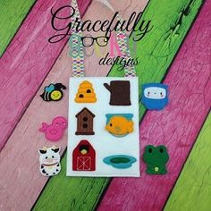 Animals and their homes match Game Set Busy Bag Embroidery Design - 5x7 Hoop or Larger