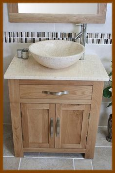 Bathroom Vanity Unit Oak Modern Cabinet Wash Stand Cream Marble Top U0026 Basin  502