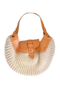 Crocheted And Leather Handbag