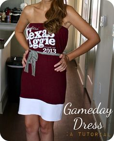 diy game day dress out of oversized tshirt... going to buy up those xxxl shirts that are always super cheap because they have way too many! Super quick dress!