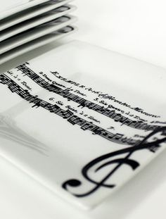 """So cute!  Perfect for themed parties or music lovers.  Music teacher gift?  ADAGIO APPETIZER PLATE 7"""""""