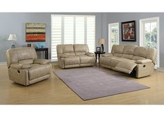 2 pc Martha collection champagne leather look fabric upholstered sofa and love seat with recliner ends