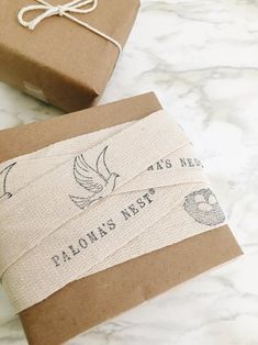 Hi + welcome to the segment of a series of something I am SUPER passionate about: Branding & Packaging! Project Two: Custom Ribbon (with a little help from my friends at Paloma's Nest) Branding And Packaging, Pretty Packaging, Custom Packaging, Product Packaging, Packaging Ideas, Candle Packaging, Packaging Design, Creative Gift Wrapping, Creative Gifts