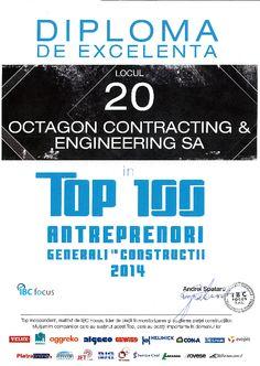 OCTAGON pe locul 20 in top 100 antreprenori generali in constructii 2014