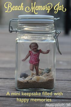 but I find the idea of trapping your kid in jar funny. (Here's the warm fuzzy: Beach Memory Jar - a special keepsake filled with happy memories and little treasures. Great instructions - very easy to make! Beach Crafts, Crafts To Do, Crafts For Kids, Beach Fun, Beach Trip, Beach Travel, Beach Memory Jars, Mason Jar Crafts, Mason Jars