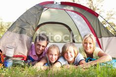 Middle Aged Family On Camping Holiday In Countryside Royalty Free Stock Photo