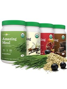 """This line of vegan protein powder meal replacements is called """"amazing meal"""" by Amazing Grass. It is quickly becoming a favorite among our office staff because it is so delicious!  It's high protein, low calorie, high fiber, certified organic and all vegan. It has wheatgrass, acai and other goodness in there. Protein from rice and hemp, not soy.  It's the best vegan protein powder we have ever tried, and we've tried several."""