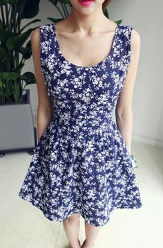 Tiny Floral Print Sexy Scoop Neck Self-Tie Backless Dress For Women