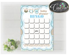 Baby Shower printable BINGO GIFT cards game with boy clothes printable and blue color theme, Jpg Pdf, instant download - bc001 #babyshowergifts #babyshowerideas