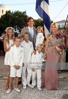 Crown Princess Marie-Chantal and Prince Pavlos of Greece arrive for the wedding of Prince Nikolaos of Greece and Tatiana Blatnik at the Cathedral of Ayios Nikolaos (St. in Spetses, Greece. Casa Real, Princess Victoria Of Sweden, Crown Princess Victoria, Royal Brides, Royal Weddings, Adele, Marie Chantal Of Greece, Famous Wedding Dresses, Greek Royalty