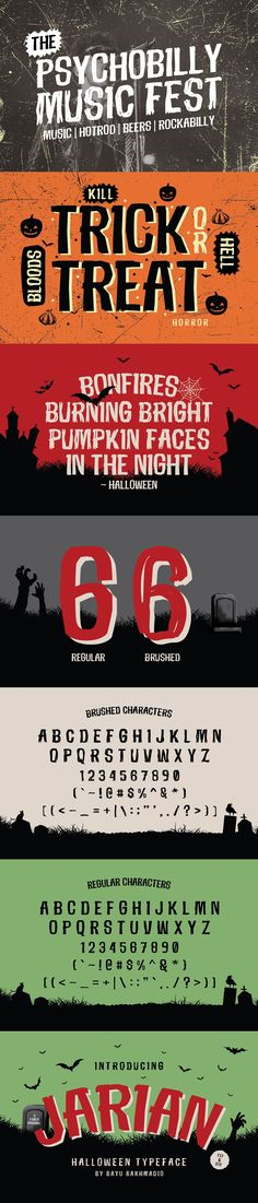 Inspired from vintage halloween comic (cartoon). You can use this halloween typeface for halloween event promotion like Halloween Fonts, Vintage Halloween, Graphic Design Typography, Logo Design, Rockabilly Music, Music Fest, Retro Logos, Pumpkin Faces, Movie Titles