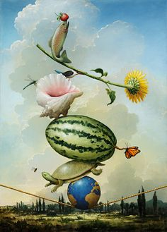An interesting surreal painting of objects and animals on a tightrope. (Artist: Kevin Sloan.)