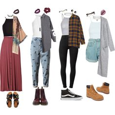 Grunge Outfits by stellaluna899 on Polyvore featuring Monki, River Island, Topshop, Glamorous, Retrò, Ashish, J Brand, Timberland, Dr. Martens and Vans