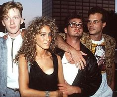 """""""Weird Science"""" U.S. premiere, August 1985. From left, Anthony Michael Hall, Sarah Jessica Parker, Robert Downey Jr and Bill Paxton."""