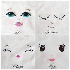 embroider doll face - Google Search                                                                                                                                                      More
