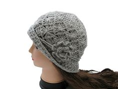 Made to OrderBeautiful Crocheted Hat in Light Grey/ by nezoshop