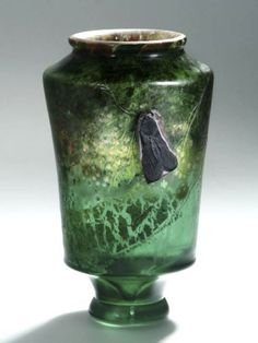 Emile Gallé, Nancy, (1846-1904), Mold Blown, Internal Inclusions, applied and Engraved Glass Vase.