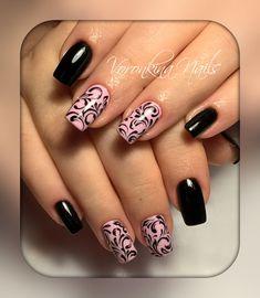 Фотография Nude Nails, Black Nails, Pink Nails, Finger, Gel Polish, Nail Ideas, Nail Art Designs, Stamping, Ale
