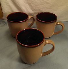 Sango NOVA BROWN 4933 Set of 3 Coffee/Tea 12oz Mugs Excellent Condition #Sango