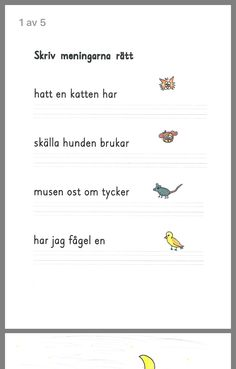 Meningar Learn Swedish, Swedish Language, Learning Support, Snapchat Quotes, Teaching Materials, Math Worksheets, First Grade, Writing, Education