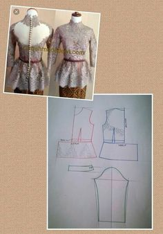 Kebaya Peplum, Kebaya Lace, Batik Kebaya, Batik Dress, Kaftan Pattern, Bodice Pattern, Blouse Patterns, Clothing Patterns, Kebaya Modern Dress