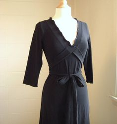 3/4 Sleeve Vneck Dress Ruffled Wrap by ellainaboutique on Etsy, $70.00