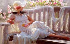 25 Beautiful Oil Paintings by Andrei Belichenko - Woman, Garden and Dreams. Follow us www.pinterest.com/webneel