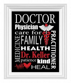 Doctor's Gift Personalized Subway Sign Wall Art Custom Name Print Doctor's Office. $15.00, via Etsy.