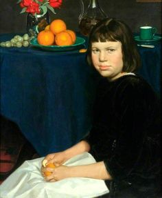 Julie with the Oranges by Howard Somerville (1874-1952)