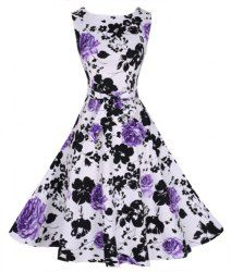 Stylish Round Collar Sleeveless Floral Print Women's Flare Dress