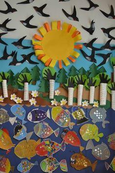 Kuvis ja askartelu - www.opeope.fi Group Art Projects, School Art Projects, Fall Projects, Projects For Kids, Diy For Kids, Crafts For Kids, Arts And Crafts, Paper Crafts, Diy And Crafts