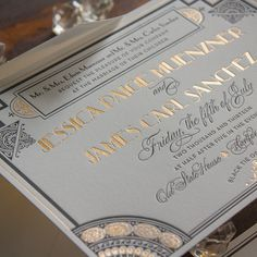 Gatsby | Lucky Luxe Couture Correspondence | Letterpress Wedding Stationery  Is it wrong to pin my actual wedding invite? I'm OBSESSED with it!