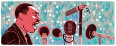 """As is often the case with Google Doodles (i.e., the illustrated logos that appear on Google's homepage), this one commemorating Martin Luther King Jr. Day goes uncredited. Still, it's pretty awesome, both the visualization of his oratorical powers, and the way the face and microphones mimic the relative size of the letters in the word """"Google."""""""