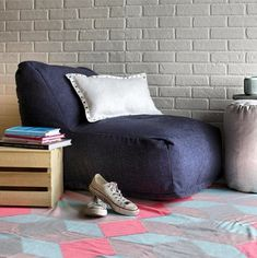 bean bag chair lounger + cute rug to create a cozy reading nook. http://www.dormify.com/dorm-and-apartment/seating/linen-twill-bean-bag-lounge-chair