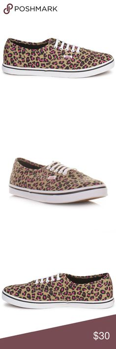 Vans Leopard pink shoes The laces have been cut so You can slip them on and of without tying Mens 5 Womens 6.5 Vans Shoes Sneakers
